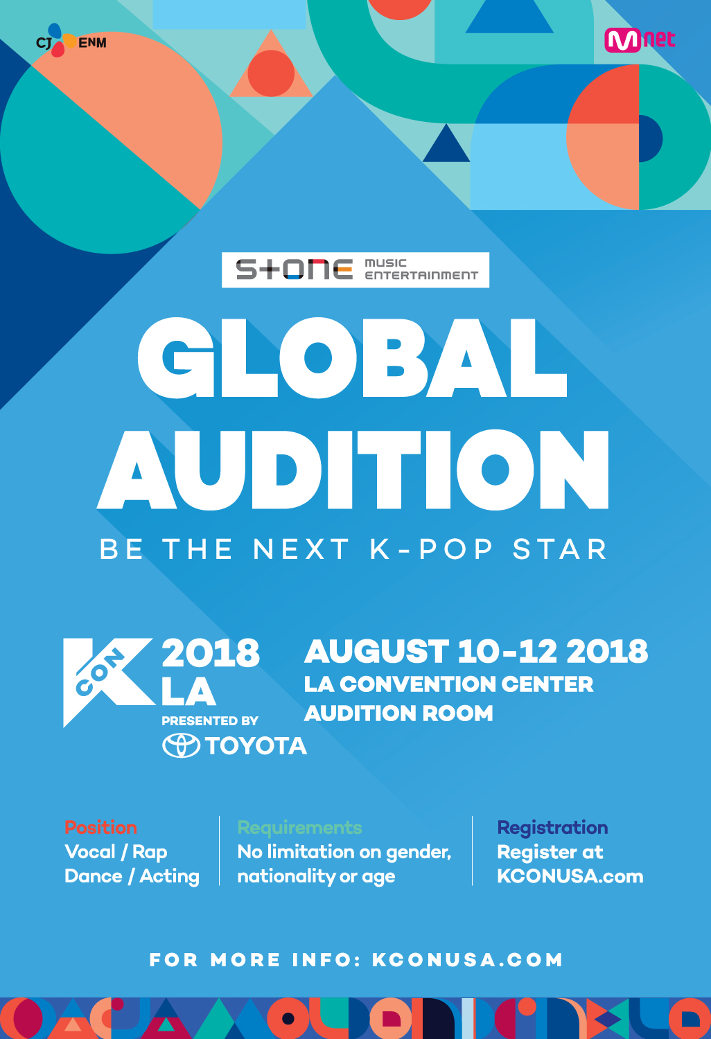 KCON 2018 LA Audition Poster Stone Music